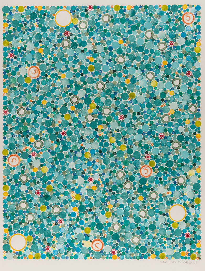 Shows an image of a painting with thousands of circles in various sizes and shades of turquoise, interspersed with yellow, white and green circles